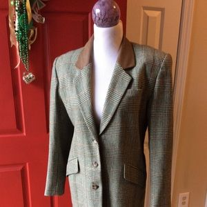 Liz Sport plaid wool blazer w/leather collar